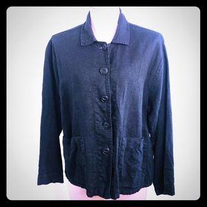 FLAX Boxy Cropped Linen Jacket Blazer